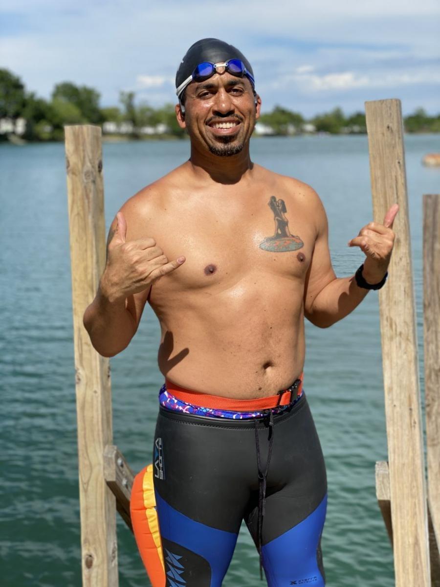 Pre-swim posing 1